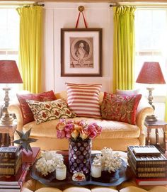 vignette,color, tufted ottoman, star, books....pink, not red roses