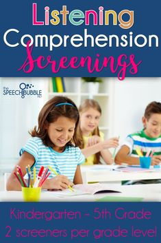 Listening comprehension is one of the most requested areas to screen.  This packet gives two screeners per grade level to help you assess listening comp abilities before and after interventions!