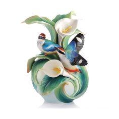 Franz Porcelain Blue-Winged Pitta Vase FZ03123
