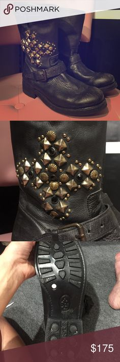Boots Awesome ASH boots so comfy , stud and stone detail on side size 41, I'm a true size USA 10 btw ,wore one time bin 9 ( look is distressed) Ash Shoes Ankle Boots & Booties
