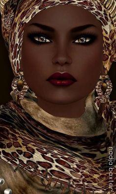 """Black art-Nubian Queen"" by Nadja Baxter. African American Art, African Art, African Prints, African Style, African Fabric, African Women, My Black Is Beautiful, Beautiful Eyes, Stunningly Beautiful"