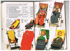 Vintage strollers and prams and footmuffs from the 1978 Mothercare catalogue