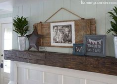 poopy barn door photo display, fireplaces mantels, living room ideas, repurposing upcycling, wall decor
