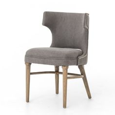 "MSRP $600 Contractor Price $279  Dining chair  Soft grey canvas with pewter nailheads, a modern wing shape, and splayed nettle wood legs create contemporary presence.  Dimensions: W: 19.75"" D: 22"" H: 33"" These are my absolute favorite chairs!!"