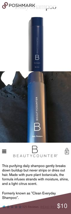 Beautycounter Daily Shampoo 10oz. Fabulous shampoo made with safe ingredients.  Never been used. A really nice shampoo for all hair types. 10oz. A little goes a long way with all BC products so the shampoo lasts. Beautycounter Makeup