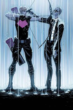 PREVIEWSworld - SECRET AVENGERS #10 - Hawkeye (Clint Barton) and Agent Phil Coulson face off.  Art by Tradd Moore.