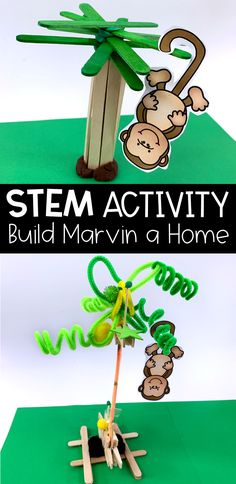 This STEM activity has students collaborate to build Marvin a tree. It is perfect for first and second grade students. 4 Year Old Activities, Library Activities, Stem Activities, Summer Activities, Summer School Programs, Summer Camp Themes, Summer Reading Program, Jungle Theme Activities, Preschool Jungle