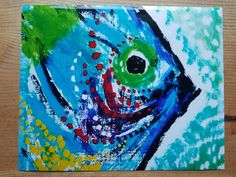 Colorful FISH Coastal Abstract Art By Artist by MySalvagedPast