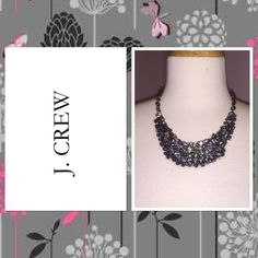 J. Crew Grey Crystal Supernova Necklace Worn once. Perfect condition. J. Crew Jewelry Necklaces