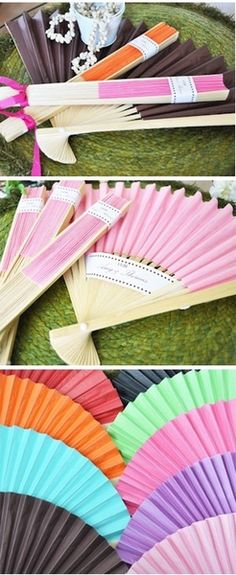 Iz gonna be hot.Colored Paper Fan Favors - Choose from a wide variety of colors with these paper fans. Perfect for a spring or summer wedding. You can also include personalization and design options as well. Wedding Fans, Diy Wedding, Wedding Gifts, Dream Wedding, Wedding Ideas, Wedding Colors, Elegant Wedding, Paper Fans Wedding, Fall Wedding