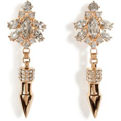 MAWI Rose Gold-Plated Crystal Nymph Earrings with Pave Spikes