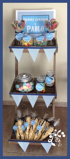 => Mira este tablero para sorprenderte con un montón de pins sorprendentes similares a este. Idee Baby Shower, Baby Boy Shower, Candy Bar Comunion, Boy Christening, Ideas Para Fiestas, Candy Table, First Holy Communion, Diy Projects To Try, Party