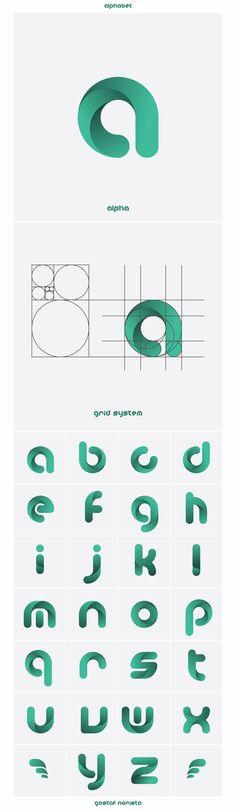 alpha on Behance logo logo design logotype logomark symbol vector graphi Inspiration Logo Design, Icon Design, Web Design, Design Art, Design Ideas, Curve Design, Flat Design, Line Design, Behance Logo