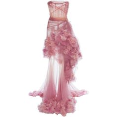 Marchesa Ombre Tiered Gown (135 725 ZAR) ❤ liked on Polyvore featuring dresses, gowns, pink, ombre gown, floral evening gown, pink strapless dress, strapless evening gowns and strapless evening dresses