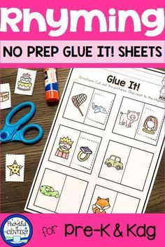 Rhyming is an important phonemic awareness skill. Give your PreK and Kindergarten students more rhyming practice with this set of NO PREP cut and paste worksheets. Great to use for morning work, homework and assessments! Phonemic Awareness Kindergarten, Kindergarten Literacy Stations, Phonemic Awareness Activities, Kindergarten Activities, Rhyming Riddles, Rhyming Worksheet, Rhyming Activities, Kindergarten Worksheets, Phonics Games