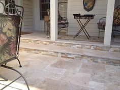travertine patio - coming off kitchen door - multilevels