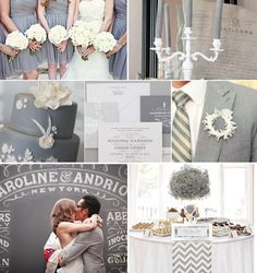 Grey Wedding Inspiration - Grey Bridesmaid Dress, Grey Wedding Cake, Grey Wedding invitations, Grey Wedding Decor (AP says >> love mixing in a little chevron print for a young couple)