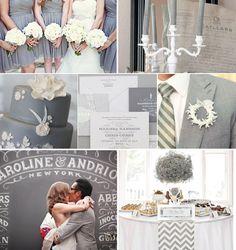 Grey Wedding Inspiration - Grey Bridesmaid Dress, Grey Wedding Cake, Grey Wedding invitations, Grey Wedding Decor.....grey, grey, grey!!!