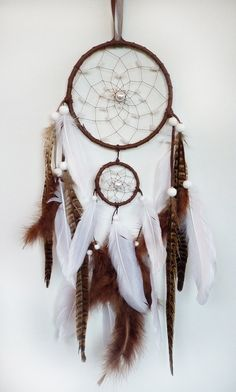 Double Dreamcatcher White and Brown  Her Hand Around by Vendelboe, $72.00