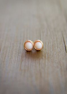White Czech Glass Beaded Stud Earrings Wire by JoviLyneCollection