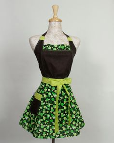 Shamrock Apron Black multi shades of Green for the by apronqueen, $34.95