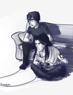 Sizzy Gaming by taratjah on DeviantArt--- In which Simon introduces Isabelle to gaming and she completely destroys him.