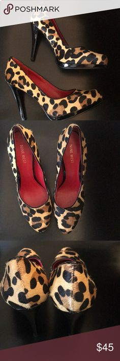 "Stunning Nine West Leopard Pony Hair Pump 6.5 Like new platform heels. Just stunning.  The style is the Rocha and the heel is 4"" with a platform of 1/2"". Leather upper and leopard print calf hair. Heels have some signs of wear but you can't tell unless you look up close.  So sleek and sexy! Nine West Shoes Heels"
