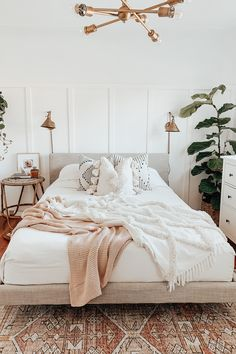The Tessu upholstered bed is covered with a linen-feel polyester fabric blend, lightly stuffed for maximum comfort. Photo by Cloe Thompson. #BedroomFurniture #BedDesign #Bedroom Room Ideas Bedroom, Home Decor Bedroom, Boho Teen Bedroom, Earthy Bedroom, Airy Bedroom, Bright Bedroom Ideas, Boho Chic Bedroom, Bedroom Inspo, Nature Bedroom