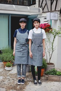 Working wear guoup - amont. restaurant uniform, barista, bar work wear, white shirts, denim stripe apron, stripe pants, chef wear, cheflife