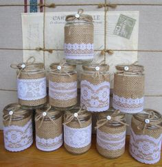 How To Decorate Glass Jars Details About 10 X Shabby Chic Mini Jam Jars Vintage Wedding