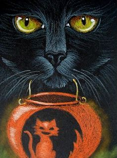 "Cat Art...=^.^=...❤... ""Black Cat - Halloween"" By Artist Cyra R. Cancel..."