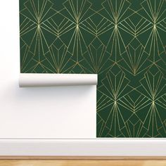 Stick On Wallpaper, Art Deco Wallpaper, Self Adhesive Wallpaper, Custom Wallpaper, Wallpaper Roll, Dark Green Wallpaper, Green And Gold, Emerald Green, Prepasted Wallpaper