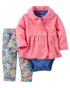Designed for all-day play, dressing is easy with this ready-to-wear matching set. Featuring a zip-up French terry jacket, this 3-piece set is complete with a coordinating cotton bodysuit and pants.