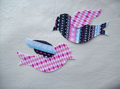 2 Diy Christmas Fabric Iron On Bird Appliques by PacificCoastie, $4.00