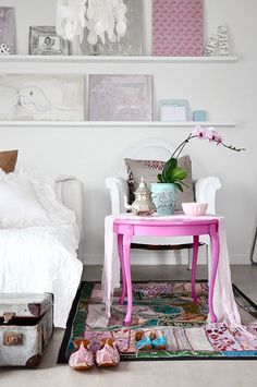 bright pink side table
