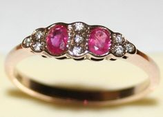 ANTIQUE POLISH ART DECO 9K GOLD .20Ct RUBY .18Ct DIAMOND HALLMARKED PRETTY RING