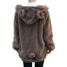 Women Hoodies Zipper Girl Winter Loose Fluffy Bear Ear Hoodie Hooded Jacket Warm Outerwear Coat cute sweatshirt christmas gift