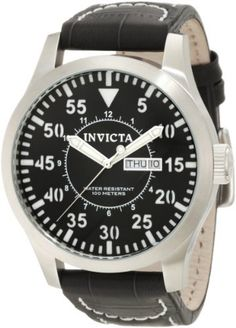 Invicta Men's 11188 Specialty Black Dial Black Leather Watch Invicta. Save 83 Off!. $78.93. Flame-fusion crystal; brushed stainless steel case; black leather strap with contrast stitching. Day and date window. Black dial with silver tone hands, white hour markers and arabic numerals; luminous. Quartz movement. Water-resistant to 100 m (330 feet)