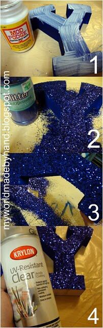 Glitter letters ∙❉∙ Brush on mod podge or Elmers glue to wooden letter, sprinkle some glitter, then spray with clear acrylic paint to prevent the sparkles from falling off.