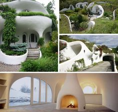 "Erdhaus creates artistic retro earth-sheltered ""hobbit houses"" around the world, designed to live in harmony with nature. Green Architecture, Organic Architecture, Residential Architecture, Contemporary Architecture, Eco Construction, Earth Sheltered Homes, Earth Bag Homes, Earthship Home, Adobe House"