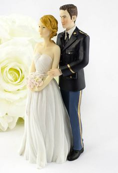 This a unique Army groom wearing his dress blues with his bride wearing a contemporary strapless wedding dress. Bride and groom are Caucasian. Made of resin. Army Wedding Cakes, Country Wedding Cakes, Cool Wedding Cakes, Wedding Car, Wedding Cake Toppers, Dream Wedding, Wedding Dresses, Wedding Stuff, Wedding Hacks