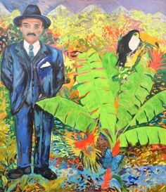 Large Hunt Slonem Painting, Original Work.  MARKINGS: signed; 1985.  Work is titled DR. GREGORIO HERNANDEZ, and depicts the faith healer amongst tropical greenery. Gallery label to reverse: Present Global Art Gallery, West Palm Beach, Florida.