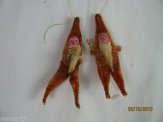 2 Vtg Santa Clay Face Chenille Body Ornament Occupied Japan Label on Both | eBay