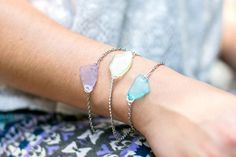 A DIY bracelet and matching earrings made from sea glass by Stephanie Gerber of Henry Happened for The Sweetest Occasion #seaglassearringsideas