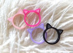 Kitty Ring: Baby Pink Lilac Black or Bright Pink Laser Cut Acrylic Kitty Ears Ring