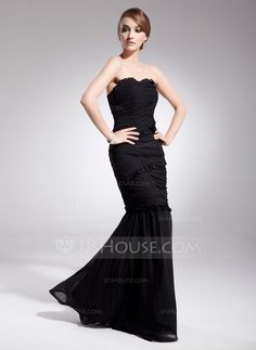 Trumpet/Mermaid Sweetheart Floor-Length Chiffon Evening Dress With Ruffle (017014563)