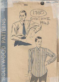 1943 WW2 Vintage Sewing Pattern Size: 14 1/2 MENS SHIRT