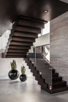 90 most popular modern house stairs design models 30 Home Stairs Design, Stair Railing Design, Modern House Design, Home Interior Design, Staircase Remodel, Modern Staircase, House Stairs, Under Stairs, Stairways