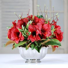 Shop the perfect holiday decorations at Winwardhome.com Christmas Flowers, Christmas Stuff, Christmas Holidays, Artificial Floral Arrangements, Silk Flower Arrangements, Red Wedding Centerpieces, Holiday Decorations, Silk Flowers, Container Gardening