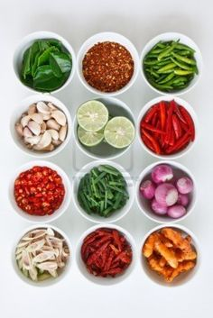 thai food Ingredients Examples: Thai red peppers, basil, ginger, onion, lamb juice, garlic, lime, chili, Kaffir lime leaves, and green peper.